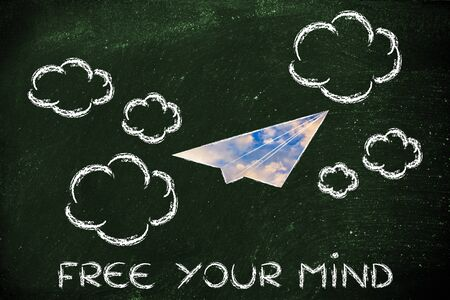 free your mind: paper airplane illustration with sunset sky fill, free your mind