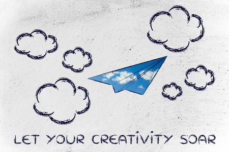 fill: paper airplane illustration with sky fill, let your creativity soar Stock Photo