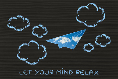 fill: paper airplane illustration with sky fill, let your mind relax