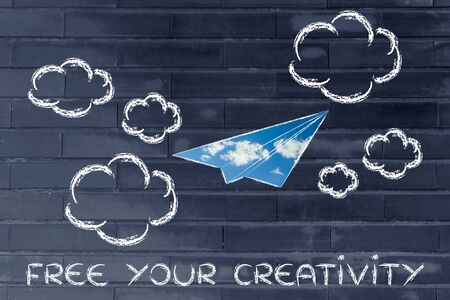 fill: paper airplane illustration with sky fill, free your creativity Stock Photo