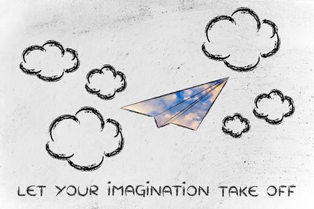 paper airplane illustration with sky fill, let your imagination take off