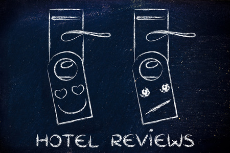 hotel feedback by guests: heart-shaped eyes and unimpressed face as feedback on door hangers