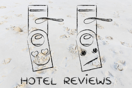 unimpressed: hotel feedback by guests: heart-shaped eyes and unimpressed face as feedback on door hangers