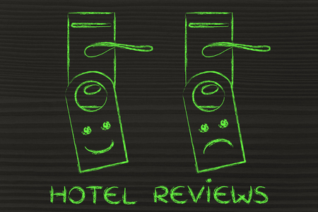 hotel reviews: hotel reviews by guests: positive and negative feedback on door hangers Stock Photo