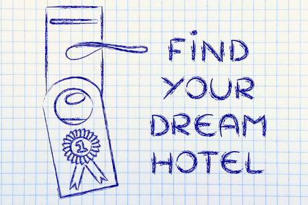 hotel door: Find Your Dream Hotel, door hanger with number one ranking