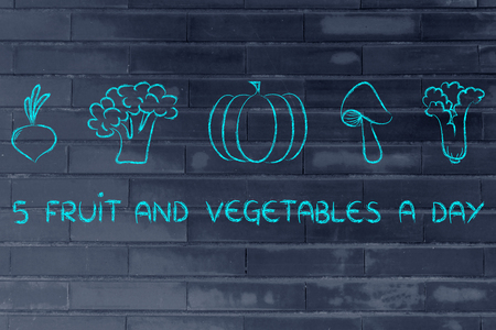 staying fit: healthy lifestyle and staying fit: five a day veggies illustration