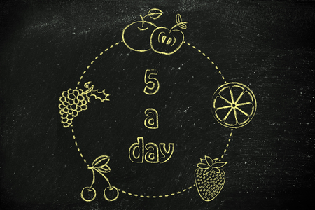 staying fit: healthy lifestyle and staying fit: fruit in circle around the text 5 a day