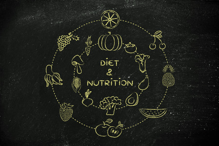 nutrientes: alimentos saludables y nutrientes: Ilustración sobre el consumo de productos naturales como verduras y frutas
