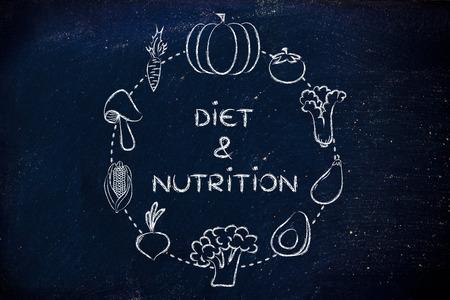nutrientes: alimentos saludables y nutrientes: Ilustración sobre el consumo de productos naturales como verduras