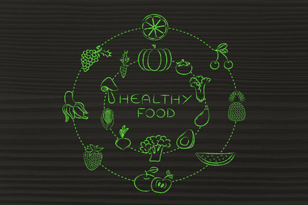 nutrientes: alimentos saludables y nutrientes: Ilustraci�n sobre el consumo de productos naturales como verduras y frutas