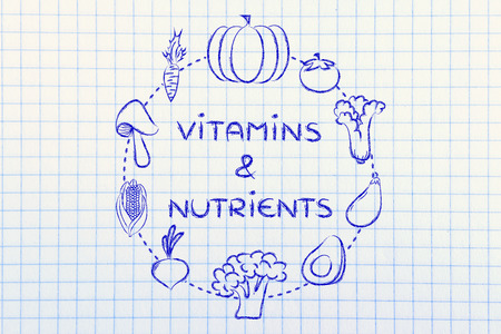 nutrients: vitaminas y nutrientes: Ilustraci�n sobre el consumo de productos naturales como verduras
