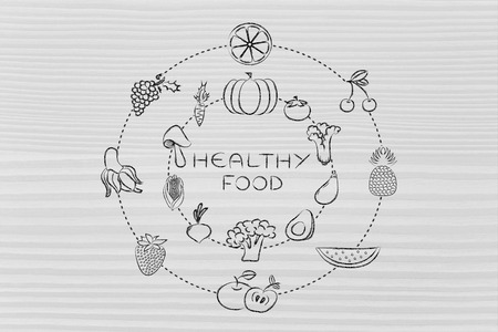 питательные вещества: healthy food and nutrients: illustration about eating natural products like vegetables and fruit Фото со стока