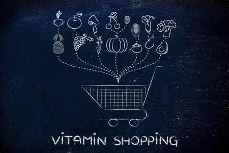 vitamin rich: fruit and veggies being dropped inside a shopping cart, illustration about a vitamin rich grocery list