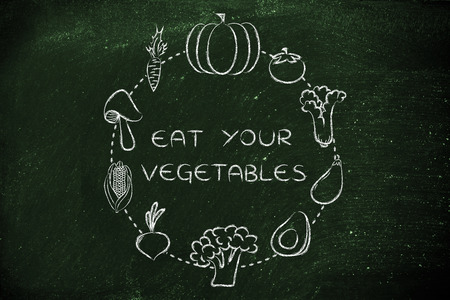 nutrients: healthy food and nutrients: illustration about eating natural products like vegetables