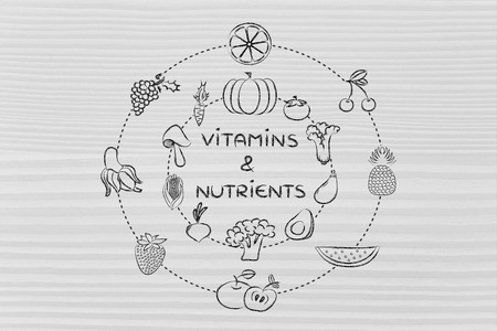 питательные вещества: vitamins and nutrients: illustration about eating natural products like vegetables