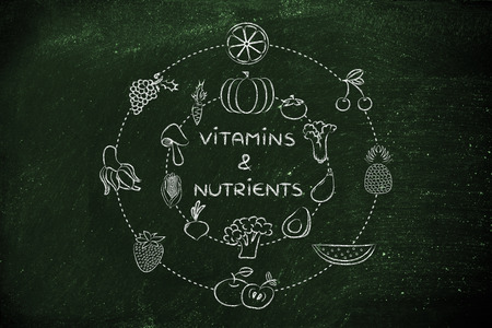 vitamins and nutrients: illustration about eating natural products like vegetables