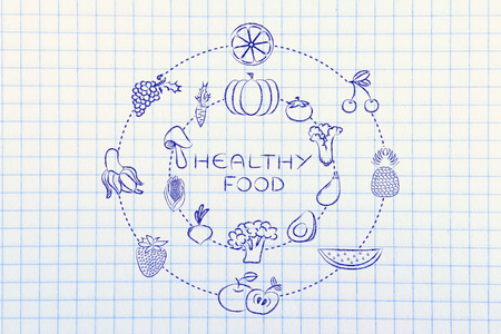 nutrients: healthy food and nutrients: illustration about eating natural products like vegetables and fruit Stock Photo
