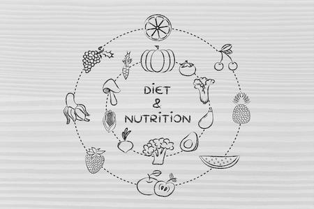 nutrients: alimentos saludables y nutrientes: Ilustraci�n sobre el consumo de productos naturales como verduras y frutas