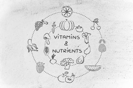 nutrients: vitamins and nutrients: illustration about eating natural products like vegetables