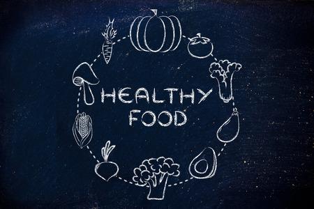 nutrientes: alimentos saludables y nutrientes: Ilustraci�n sobre el consumo de productos naturales como verduras