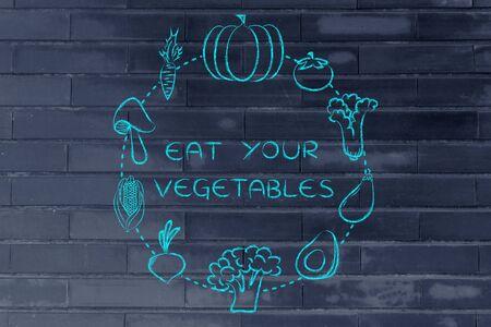 nutrients: alimentos saludables y nutrientes: Ilustraci�n sobre el consumo de productos naturales como verduras