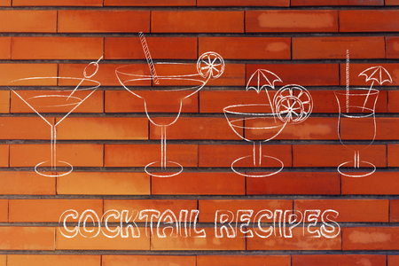 cocktail recipes: different style of drink glasses with straws, umbrellas and lemon slices