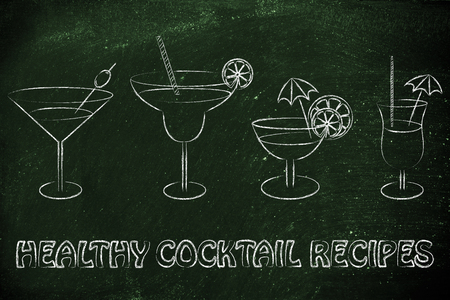 healthy cocktail recipes: different style of drink glasses with straws, umbrellas and lemon slices