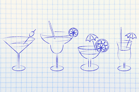 rhum: different style of drink glasses with straws, coktail umbrellas and lemon slices Stock Photo