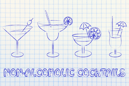 non-alcoholic cocktail recipes illustration: different style of drink glasses with straws, umbrellas and lemon slices