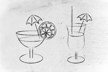 drink glasses with straws, coktail umbrellas and lemon slices