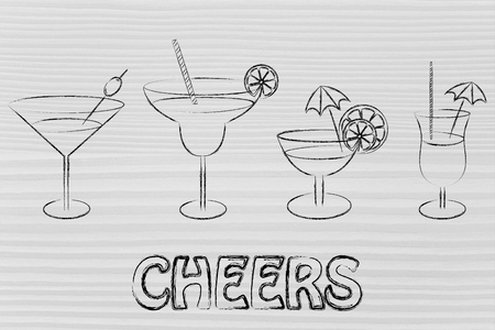 cheers: different style of drink glasses with straws, coktail umbrellas and lemon slices