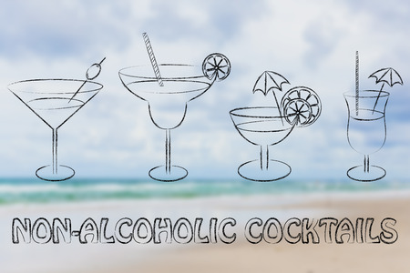 nonalcoholic: non-alcoholic cocktail recipes illustration: different style of drink glasses with straws, umbrellas and lemon slices