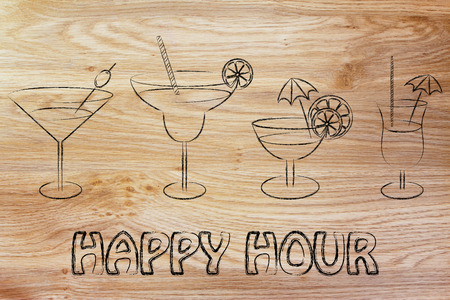 happy hour, different style of drink glasses with straws, coktail umbrellas and lemon slices