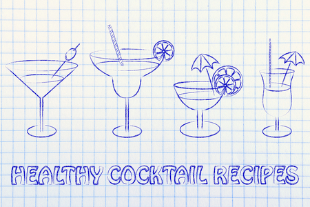 rhum: healthy cocktail recipes: different style of drink glasses with straws, umbrellas and lemon slices