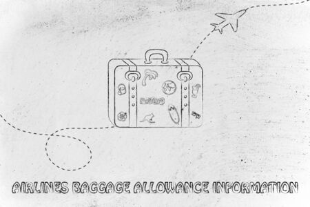 allowance: concept of airlines baggage allowance information, illustration with bag and airplane trail