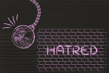 hatred: overcoming your problems, metaphor with wrecking ball destroying a wall of Hatred