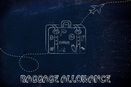 allowance: concept of airlines baggage allowance, illustration with bag and airplane trail Stock Photo