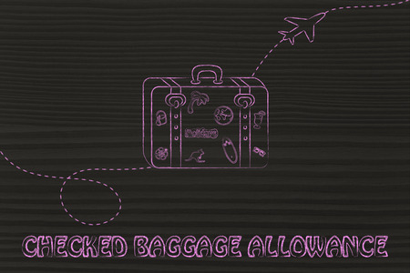allowance: concept of checked baggage allowance, illustration with bag and airplane trail Stock Photo