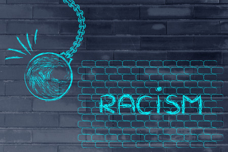 building a better world, metaphor with wrecking ball destroying a wall of racism Stock Photo