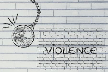 building a better world, metaphor with wrecking ball destroying a wall of violence Stock Photo