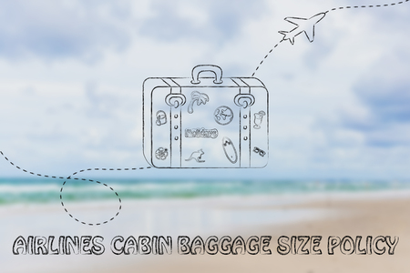 concept of airlines cabin baggage size policy, illustration with bag and airplane trail Stock Photo