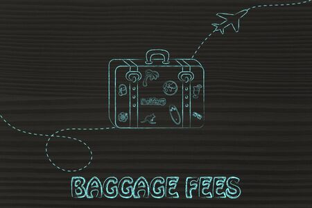 fees: concept of baggage fees, illustration with bag and airplane trail Stock Photo