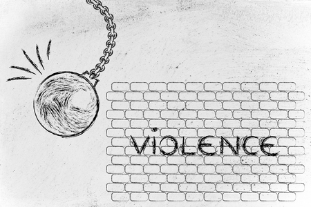 world ball: building a better world, metaphor with wrecking ball destroying a wall of violence Stock Photo