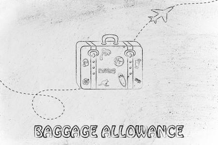 concept of airlines baggage allowance, illustration with bag and airplane trail Stock Photo