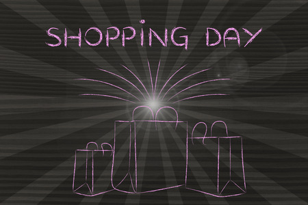 Shopping day: bags of new purchases with retro rays effect
