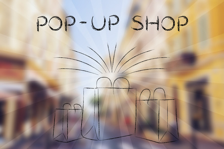 Pop-up shops and the fashion industry: bags of new purchases with retro rays effect