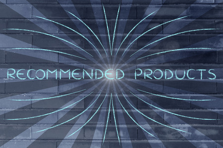 markdown: Recommended Products, illustration with text surrounded by two types of rays and flare Stock Photo