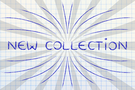 new collection: New Collection, illustration with text surrounded by two types of rays and flare
