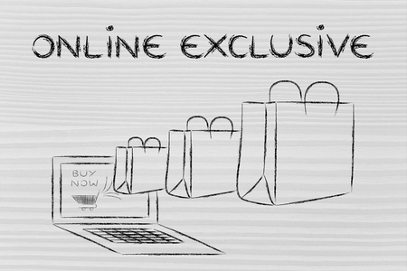 markdown: Online Exclusive, illustration with shopping bags coming out of a computer screen