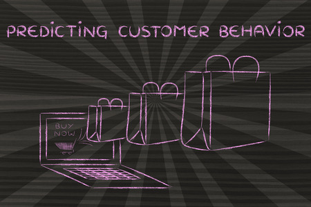 predictive: Predicting Customer Behavior, illustration with shopping bags coming out of a computer screen Stock Photo